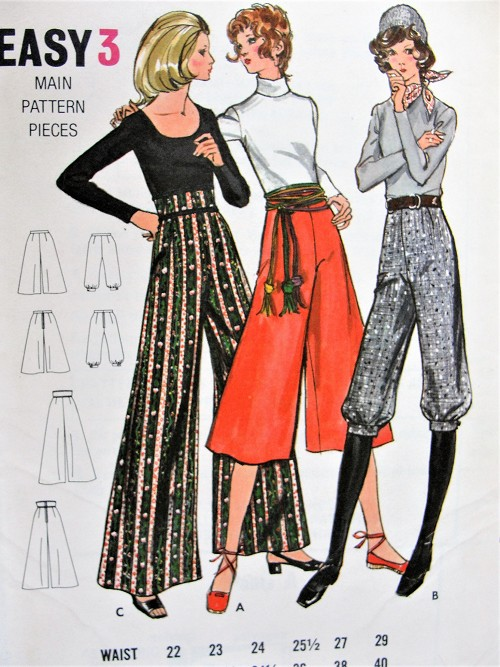 1970s RETRO Gaucho Pants, Evening Pants and Knickers Pattern BUTTERICK 6054 High Waist Wide Leg Pants, Flared Culottes,Sporty Knicker Pants Waist 27 Vintage Sewing Pattern FACTORY FOLDED
