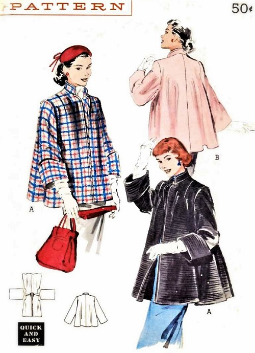 1950s LOVELY Swing Back Jacket Coat Pattern BUTTERICK 6069 Quick n Easy Topper Lovely Deep wide Cuffs Stand Up Collar Bust 32 Vintage Sewing Pattern