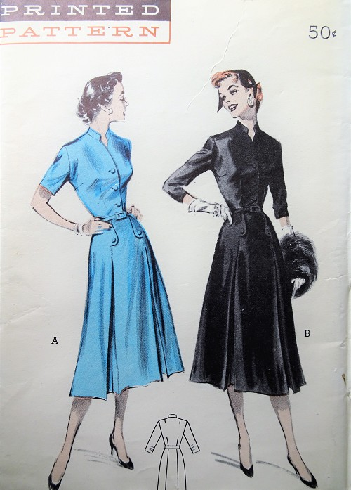 1950s Vintage POSH Dress with Pleated Skirt and High Collar Butterick 6633 Sewing Pattern Bust 36