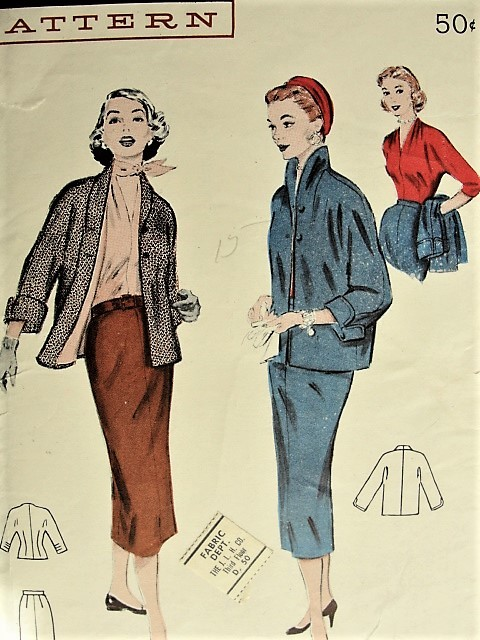 1950s Vintage ELEGANT Blouse, Suit with Lined Jacket Butterick 6647 Sewing Pattern Bust 30