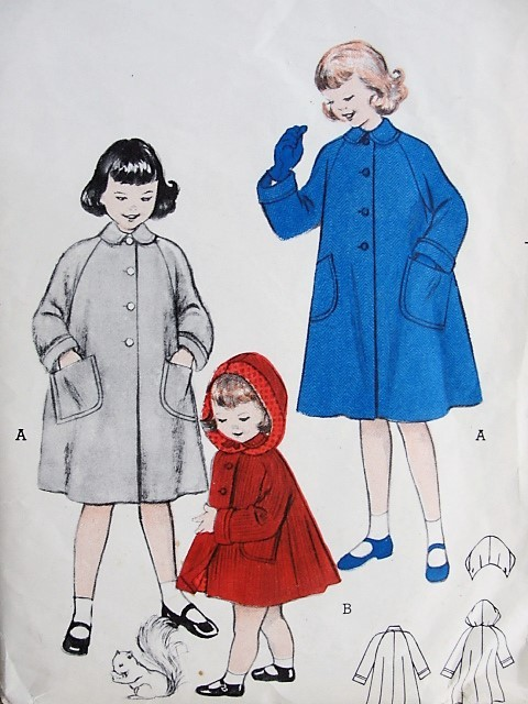 1950s CHARMING Vintage Girls Coat With or Without Hood Butterick ...
