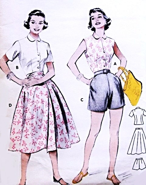 1950s Beach Weekend Resort Wear Pattern BUTTERICK 6970 Perky Blouse ...