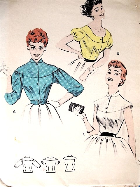 1950s CUTE Cape Yoked Blouse Pattern BUTTERICK 7162 Three Pretty Styles Daytime or Party Bust 32 Vintage Sewing Pattern