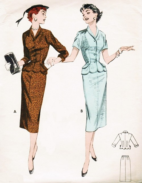 1950s STYLISH Suit or 2 Pc Dress Pattern BUTTERICK 7241 Slim Skirt Lovely Fitted Jacket Scallop Edged Bust 30 Vintage Sewing Pattern