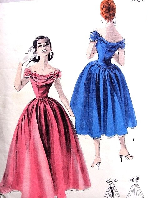 1950s Dreamy Evening Gown Dress Pattern Butterick 7987 Flattering