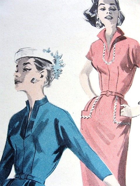 1950s STYLISH Slim Dress Pattern BUTTERICK 8095 Three Style Versions Day or Evening Bust 34 Vintage Sewing Pattern