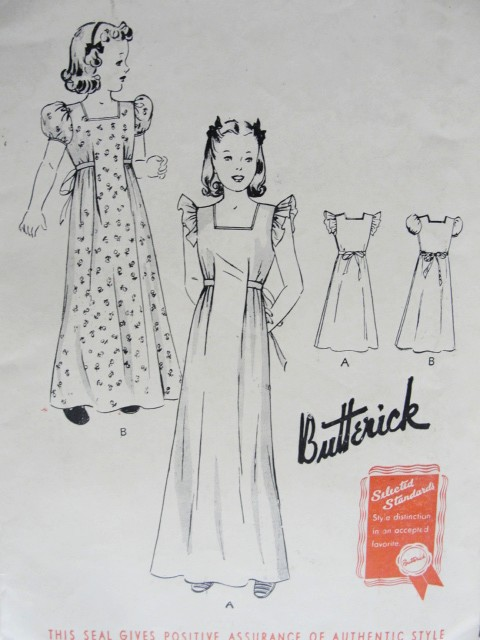 1940s Vintage LOVELY Girls Nightgown Butterick 9103 Chest 30 Sewing ...
