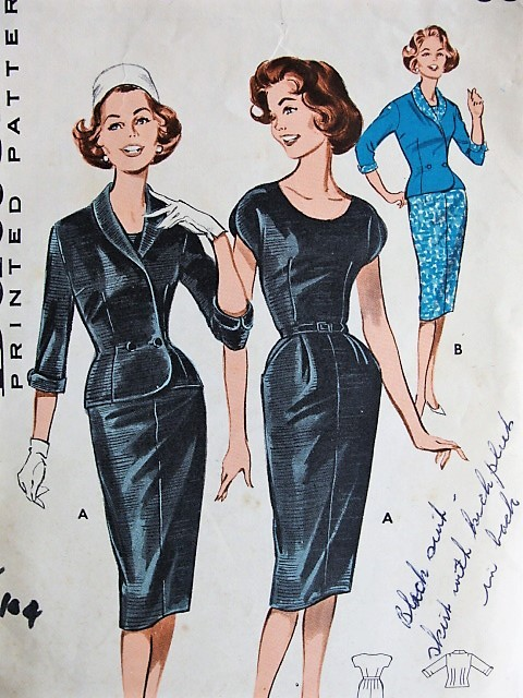 1960s Vintage Classic Fitted Dress And Jacket Butterick 9311 Bust 34