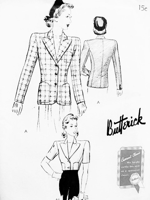 1940s CLASSY Jacket Blazer Pattern BUTTERICK 9313 Beautiful Design in 2 Lengths Day or Evening Bust 40 Vintage Forties Sewing Pattern FACTORY FOLDED