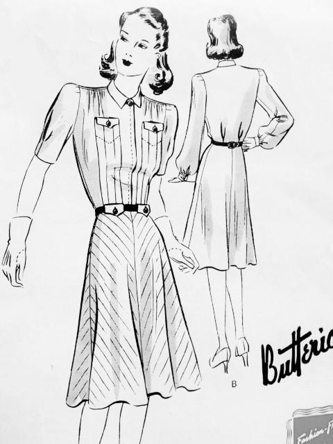 1940s STYLISH Frock Dress Pattern BUTTERICK 9327 Flattering Bias or ...