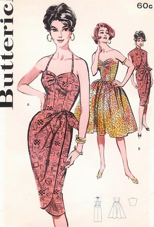 1960 Hot SARONG Cocktail Dress Pattern Butterick 9629 Bombshell ...
