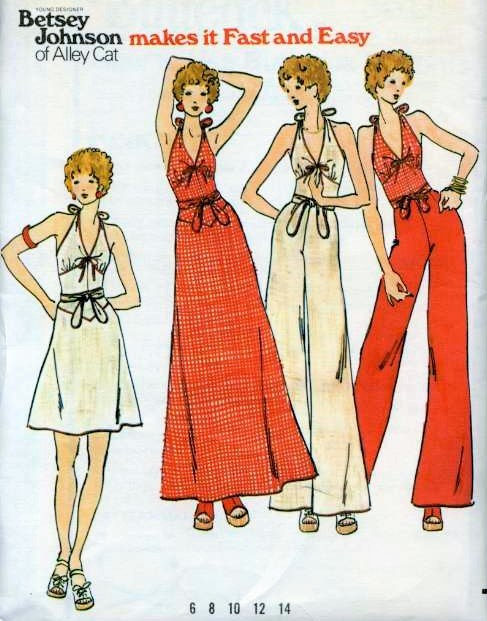 1970s Betsey Johnson Alley Cat Halter Top, Wrap Around Skirt and ...