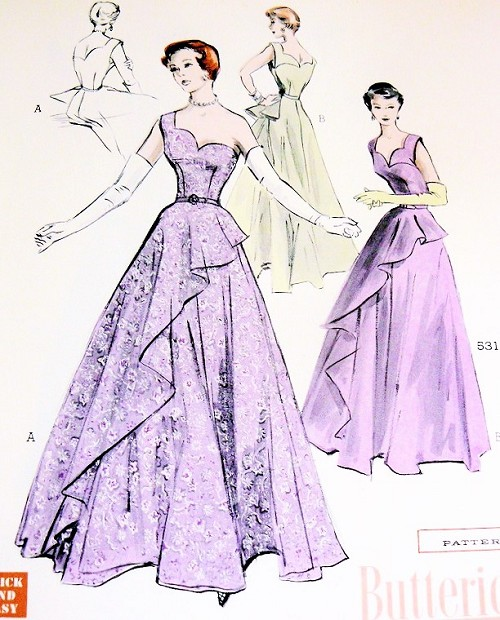 1950s Gorgeous Evening Gown Pattern Quick n Easy Butterick 5312 ...