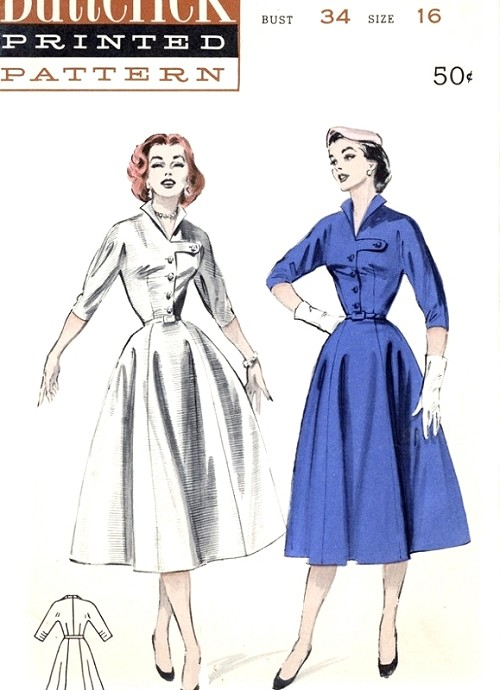 1950s Stylish Dress Pattern Butterick 6710 Wing Collar Tab Detail ...