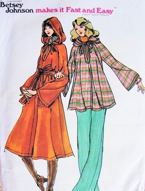 1970s Betsey Johnson Hooded Dress,Top,Pants and Belt Pattern Butterick 4428 Lovely  Dress or top With Keyhole Neckline Flare Leg Pants Petite Size Fast n Easy Vintage Sewing Pattern