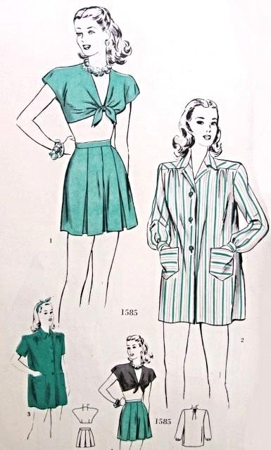 1940s Playsuit Beachwear Pattern Pin Up Front Tie Midriff Crop Top ...