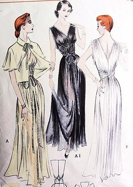 1950s GODDESS Nightgown and Boxy Bedjacket Pattern BUTTERICK 5523 ...