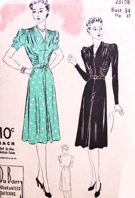 1930s Lovely Dress Pattern DuBarry 2319B Day or Cocktail Evening Dress V Neckline Shirred Bodice Figure Flattering Bust 34 Vintage Sewing Pattern