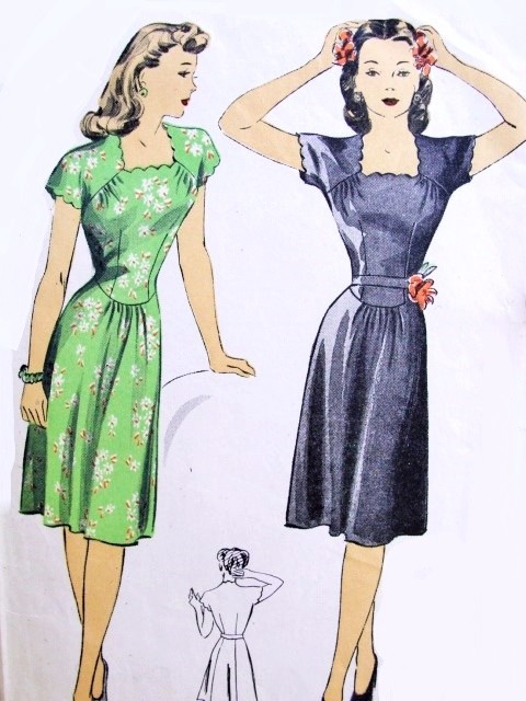 1940s Dress Pattern Dubarry 5966 Beautifully Fitted Bodice Scalloped