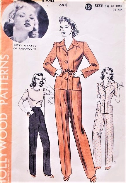 1940s  BETTY GRABLE Pants Suit Pattern HOLLYWOOD 694 Highwaist Trousers Pants Fitted Jacket WW II Era  Bust 32 Vintage Sewing Pattern