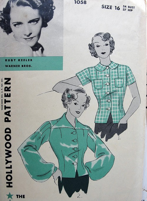 1930s FABULOUS Art Deco Overblouse Pattern HOLLYWOOD 1058 Stunning 2 Styles, Daytime and Lovely Evening Styles, Features Starlet Ruby Keeler,Bust 34 Vintage Sewing Pattern
