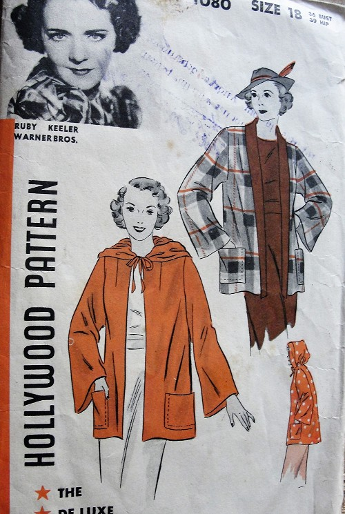 1930s LOVELY Jacket Coat Pattern HOLLYWOOD 1080  Slightly Flared Tuxedo Front Coat or Softly Pleated Hood Version Features Ruby Keeler Warner Bros Movie Star Bust 36 Collectible Vintage Sewing Pattern