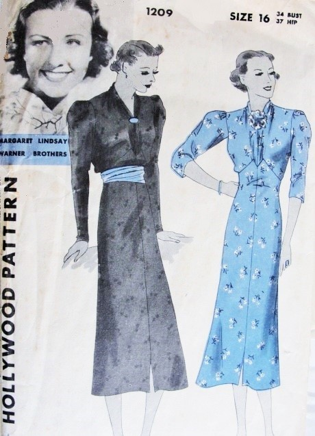 1930s Frock Dress Pattern Hollywood 1209 Features Starlet Margaret Lindsay Beautiful Day or Cocktail Easy To Sew Dress Bust 34 Vintage Sewing Pattern