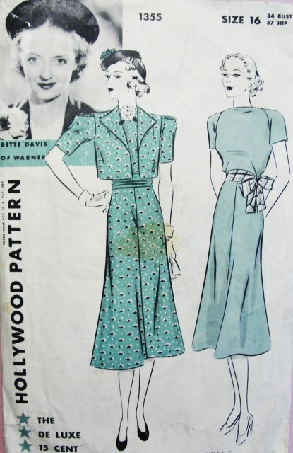 1930s Dress Frock and Bolero pattern Hollywood 1355 Features Bette Davis Lovely Bateau Neck Flared Skirt Short Jacket Bust 34 Vintage Sewing Pattern