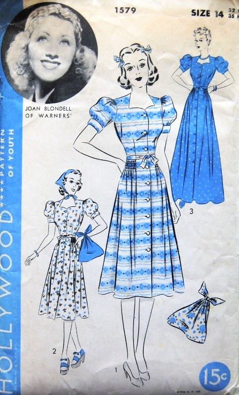 1930s LOVELY Dress or Beach Dress or Housecoat Pattern HOLLYWOOD 1579 Featuring Movie Star Joan Blondell, Beach Bag, Dirndl Dress in 2 Lengths Lovely Style Bust  32 Vintage Sewing Pattern