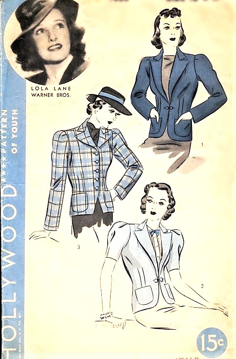 1930s ART DECO Set of Jackets Pattern HOLLYWOOD 1666 Three Style Versions, Features Starlet Lola Lane Bust 36 Vintage Sewing Pattern
