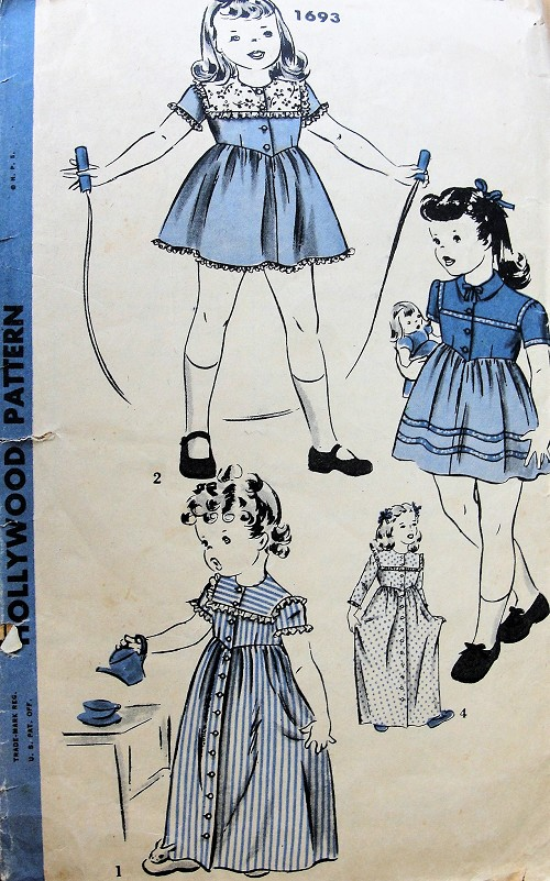 1940s  CUTE Little Girls Dress or Housecoat Pattern HOLLYWOOD 1693 4 Sweet Versions Childrens Size 6  Vintage Sewing Pattern
