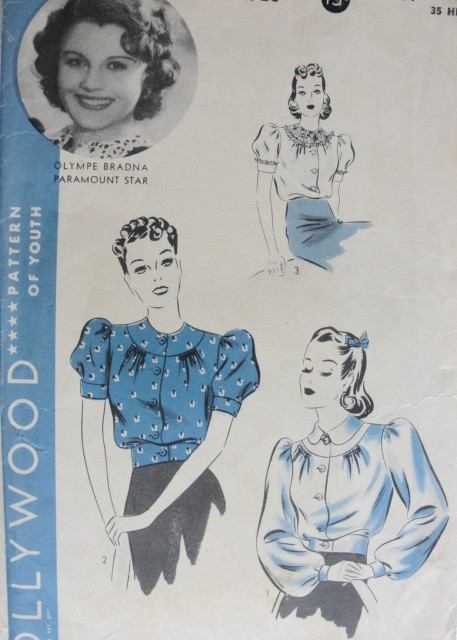 1940s Vintage MOVIE STAR Blouse Hollywood Sewing Pattern 1723 Bust 32