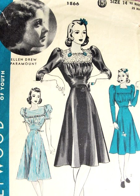 1940s LOVELY Day or Party Dress Pattern HOLLYWOOD 1866 Featuring Starlet Ellen Drew Bust 32 Vintage Sewing Pattern