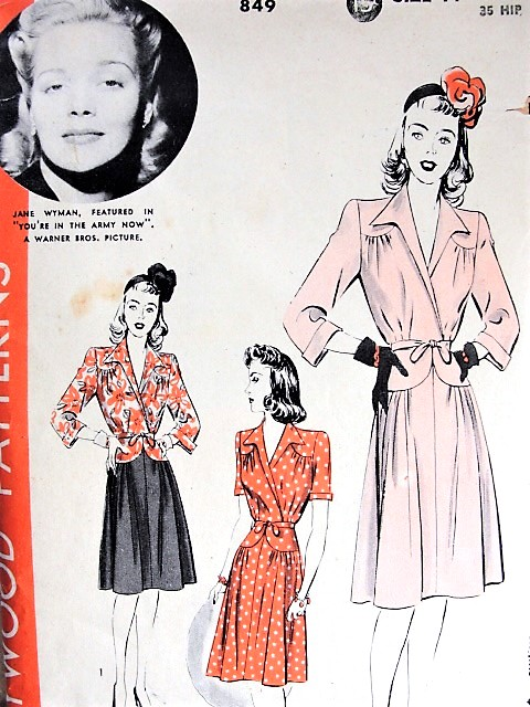 1940s PRETTY WWII Dress Pattern HOLLYWOOD 849 Featuring Starlet Jane Wyman in movie 'You're in the Army Now' Bust 32 Vintage Sewing Pattern