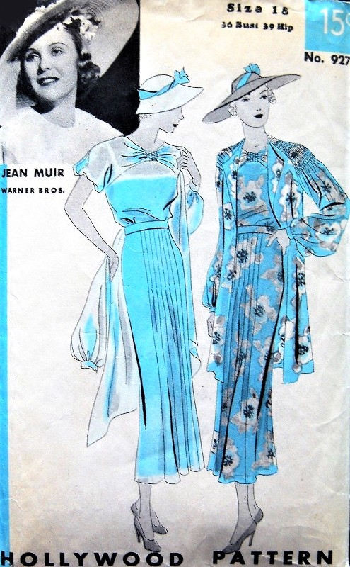 1930s BEAUTIFUL Dress and Jacket Pattern HOLLYWOOD 927 Gorgeous Design Special Occasion Dress Featuring Movie Star Jean Muir Bust 36 Vintage Sewing Pattern