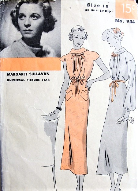 1930s BEAUTIFUL Day or Party Dress Pattern HOLLYWOOD 944 Starlet Margaret Sullavan, 2 Lovely Styles Bust 36 Sew Simple Vintage Sewing Pattern