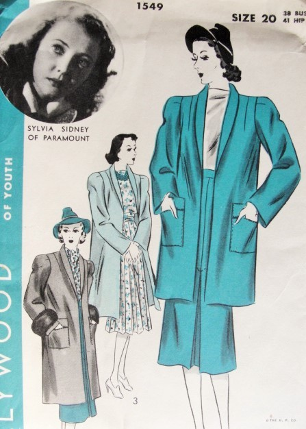 1940s Two Piece Suit or Coat Pattern Sew Simple Hollywood Pattern 1549 Classic Frties Shawl Collat Jacket or Coat Skirt With Inverted Pleat Features Sylvia Sidney of Paramount Bust 38 Vintage Sewing Pattern FACTORY FOLDED