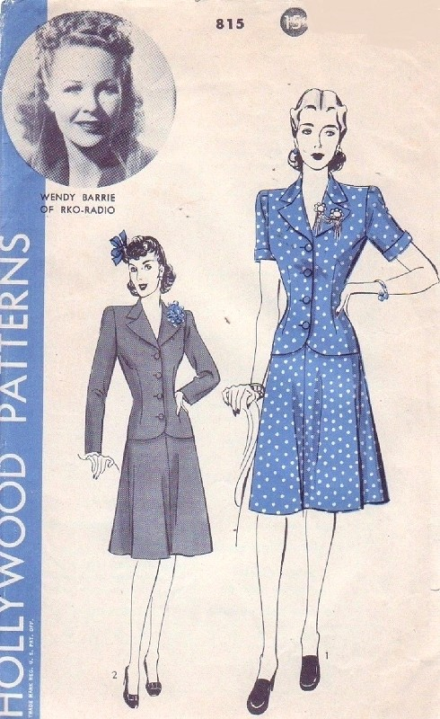 1940s FAB Suit Pattern HOLLYWOOD 815 Fitted Jacket Flared Skirt Two Pc Suit Bust 38 Wendy Barrie Movie Star Vintage Sewing Pattern