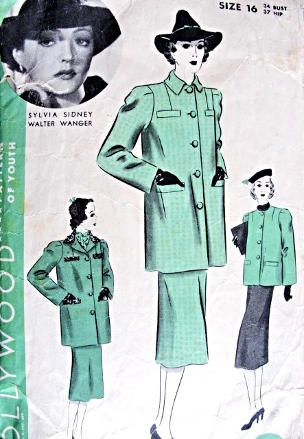 1930s  Suit Pattern Hollywood 1442 Featuring Sylvia Sidney Straight Coat and Skirt With Inverted Back Pleats Bust 34 Vintage Sewing Pattern