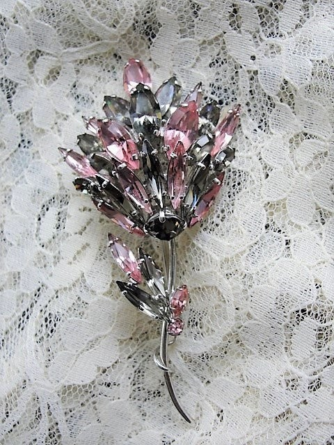 SPECTACULAR Rare SHERMAN Signed HUGE Brooch,Rhinestone Pin,Pink,Gray Navettes Rhinestones,Vintage Statement Brooch,Collectible Jewelry
