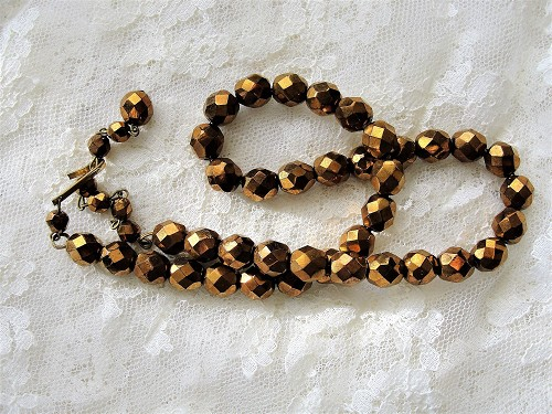 Vintage GLITTERING Copper Bronze Color CZECH Glass Necklace, Sparkling Beads For Bride Wedding Evening Wear High Quality Costume Jewelry