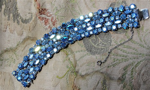 Vintage SHERMAN 5 Row Bracelet,Prong Set,BLUE Brilliant Rhinestones,Dazzling Swarovski Crystal,Collectible Glittering Signed Sherman Jewelry