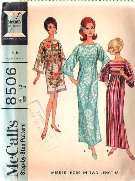 1960s FAB Beach Cover Up or Caftan Robe Hostess Patio Dress Pattern ...