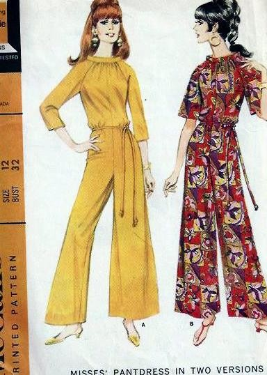1960s Pant Dress Jumpsuit Pattern Evening, Day or Hostess Wide ...
