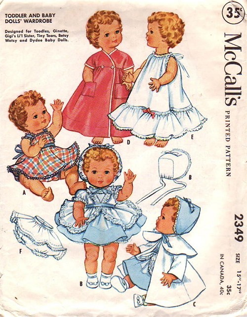 1950s Mccalls 2349 Vintage Sewing Pattern 8 9 Inch Doll Clothes For