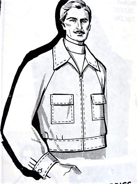 1970s FAB Mens Jacket Pattern Mail Order 8290 WindBreaker Front Zip ...