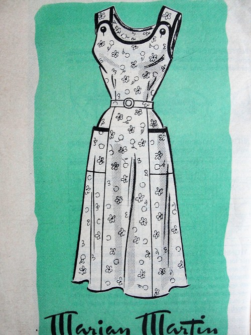 1950s Vintage PRETTY Belted Dress with Pockets Marian Martin 9230 Sewing Pattern Bust 36