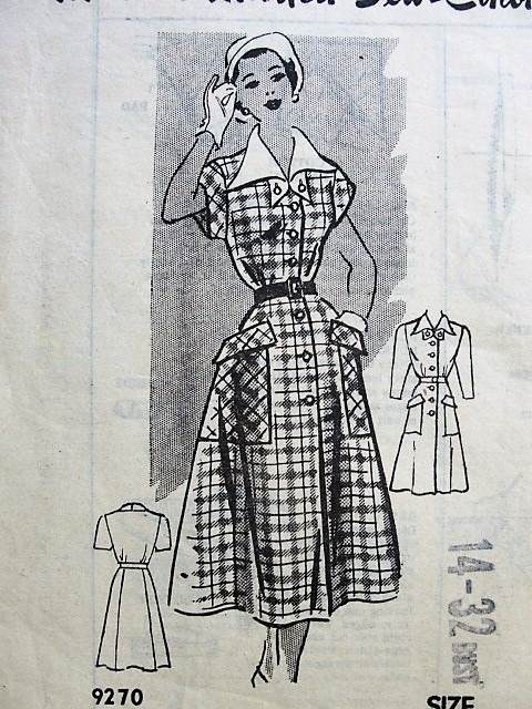 1950s PERKY Large Pockets Dress Pattern Marian Martin 9270 Cute Rockabilly Style Dress Bust 32 Vintage Fifities Sewing Pattern