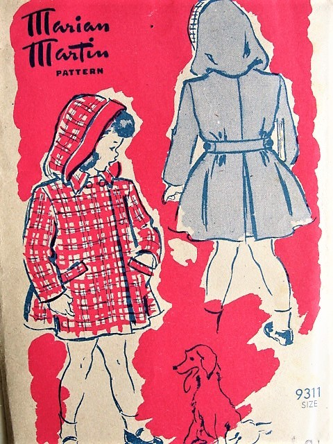 Vintage 1940s SWEET Childs Coat with Hood Marian Martin 9311 Sewing Pattern Chest 24