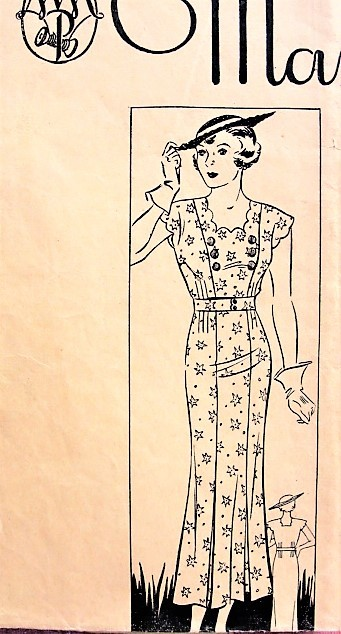 1930s PRETTY Dress with Scalloped Sleeves and Square Neckline Marian Martin 9969 Bust 32 Vintage Sewing Pattern